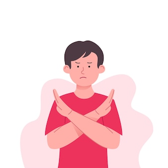 Kids refuse and rejected gesture illustration