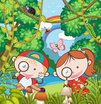 Исследования детей в лесу
