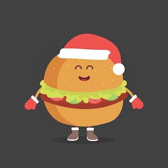 キッズレストランメニュー段ボールキャラクター。クリスマスと新年の冬のスタイル。笑顔と目と手で描かれた面白いかわいいハンバーガー。サンタの帽子と暖かい手袋を身に着けています。