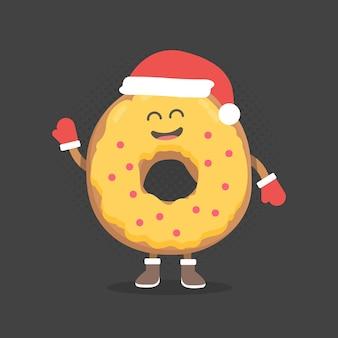 키즈 레스토랑 메뉴 판지 캐릭터. 크리스마스와 새해 겨울 스타일입니다. 미소, 눈, 손으로 그린 재미있는 귀여운 도넛. 산타 모자와 따뜻한 장갑을 입고.