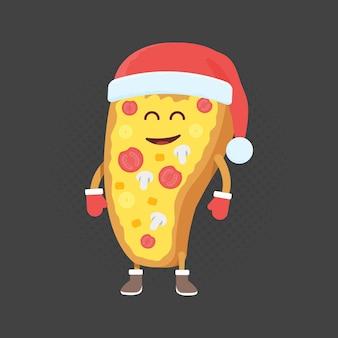 Детский ресторан меню картонный персонаж. рождество и новый год в зимнем стиле. смешная симпатичная нарисованная пицца, с улыбкой, глазами и руками. одета в шапку санты и теплые перчатки.