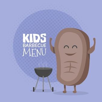 Детский ресторан меню картонный персонаж. шаблон для ваших проектов, сайтов, приглашений. забавный милый мультяшный стейк-барбекю, нарисованный с улыбкой, глазами и руками.