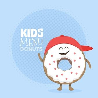 키즈 레스토랑 메뉴 판지 캐릭터. 프로젝트, 웹사이트, 초대장을 위한 템플릿입니다. 미소, 눈, 손으로 그린 재미있는 귀여운 도넛.