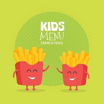 키즈 레스토랑 메뉴 판지 캐릭터. 프로젝트, 웹사이트, 초대장을 위한 템플릿입니다. 웃긴 귀여운 그려진 감자 튀김 친구, 미소, 눈, 손.
