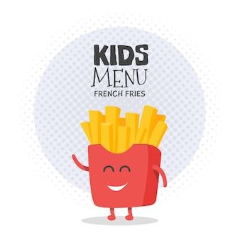 키즈 레스토랑 메뉴 판지 캐릭터. 프로젝트, 웹사이트, 초대장을 위한 템플릿입니다. 웃기고 귀여운 그려진 감자튀김, 미소, 눈, 손.