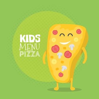 Детский ресторан меню картонный персонаж. шаблон для ваших проектов, сайтов, приглашений. смешная симпатичная нарисованная пицца, с улыбкой, глазами и руками.