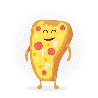 키즈 레스토랑 메뉴 판지 캐릭터. 프로젝트, 웹사이트, 초대장을 위한 템플릿입니다. 미소, 눈, 손으로 웃긴 귀여운 그려진 피자.