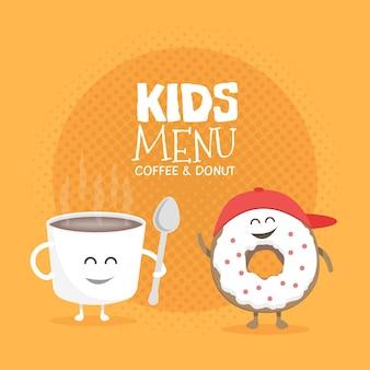 キッズレストランメニュー段ボールキャラクター。プロジェクト、ウェブサイト、招待状のテンプレート。笑顔、目と手で描かれた面白いかわいいマグカップコーヒーとドーナツ。
