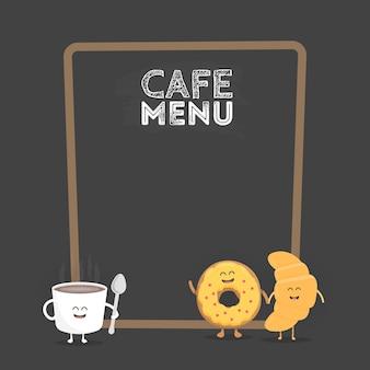 キッズレストランメニュー段ボールキャラクター。プロジェクト、ウェブサイト、招待状のテンプレート。笑顔、目、手で描かれた面白いかわいいマグカップコーヒーとドーナツ。