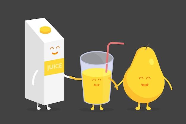 키즈 레스토랑 메뉴 판지 캐릭터. 프로젝트, 웹사이트, 초대장을 위한 템플릿입니다. 웃긴 귀여운 배 주스 포장과 미소, 눈, 손으로 그린 유리.