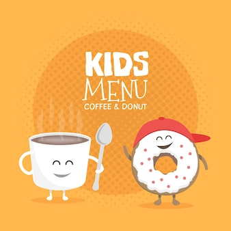 Kids restaurant menu cardboard character. template for your projects, websites, invitations. funny cute mug coffee and donut drawn with a smile, eyes and hands.