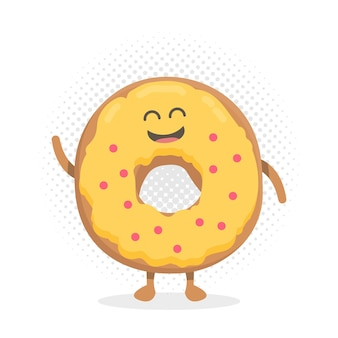 키즈 레스토랑 메뉴 만화 판지 캐릭터입니다. 프로젝트, 웹사이트, 초대장을 위한 템플릿입니다. 미소, 눈, 손으로 그린 재미있는 귀여운 도넛.