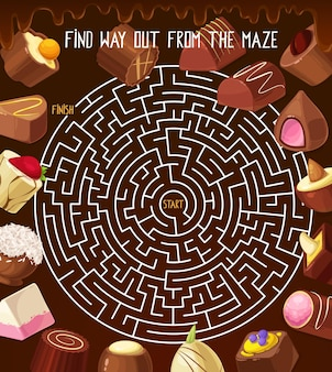 Kids riddle labyrinth maze with chocolate truffle, roasted nuts candy, praline sweets. vector round labyrinth with confectionery. find correct way out of the maze boardgame task with tangled path