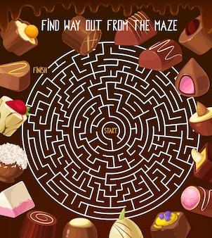 子供たちはチョコレートトリュフ、ローストナッツキャンディー、プラリネのお菓子で迷路の迷路をなぞなぞします。菓子と丸い迷路をベクトルします。絡み合った道で迷路のボードゲームタスクからの正しい方法を見つける