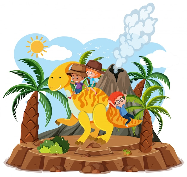 Kids ride cute dinosaur with volcano eruption  on white background