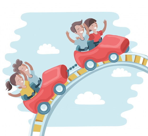 Kids ride on a roller coaster