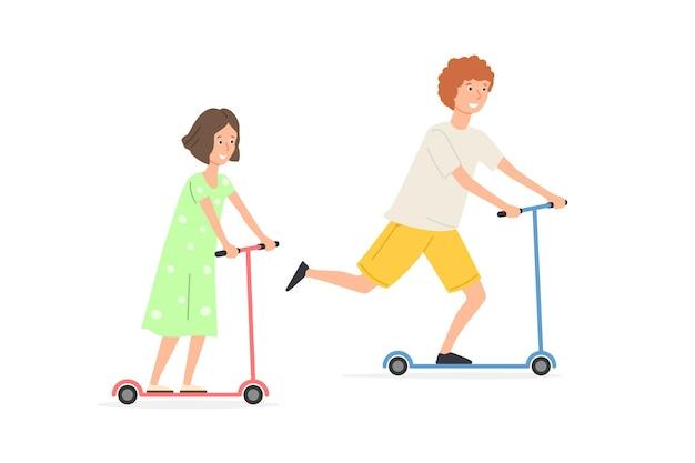 Дети катаются на скутерах на открытом воздухе изолированы на белом