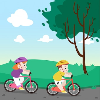 Kids riding bicycle vector illustration