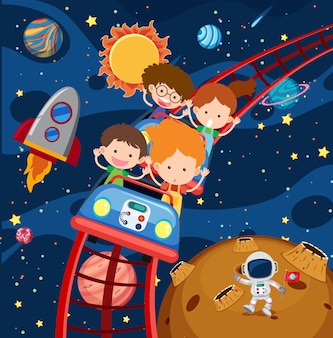 Kids riding roller coaster in space