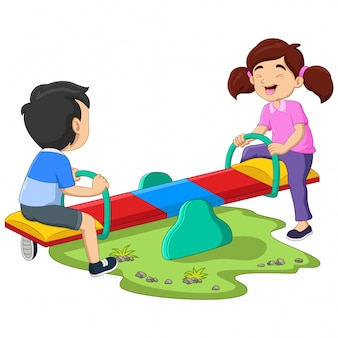 Kids riding on seesaw in the park