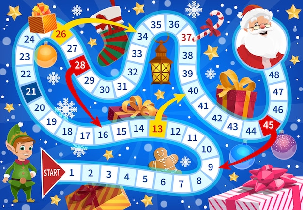 Kids roll and move boardgame with christmas elf, santa and gifts. christmas stocking, wrapped presents and gingerbread man, candy cane, ornaments cartoon . child board game with twisted path