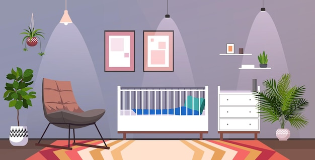 Kids room interior empty no people baby's bedroom with wooden crib horizontal vector illustration