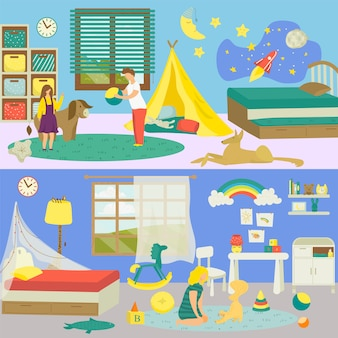 Kids  room interior with animal pet  illustration. cute boy girl person at domestic background, little funny cat dog at home. young baby home bedroom, leisure with toy game .