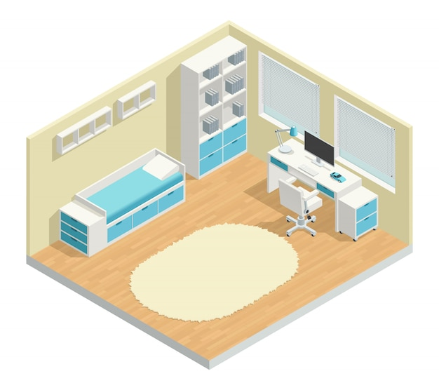 Kids room isometric composition with computer chair and lamp