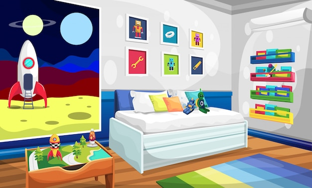 Kids room with relaxing sofa, rocket space picture, robot alien wall picture, books and table