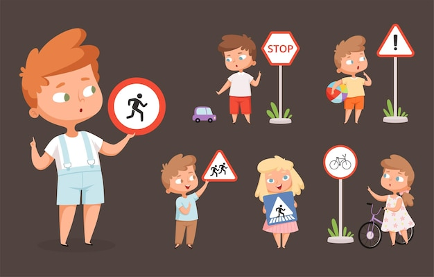 Kids rules road. school people with traffic signs safety education crossing road traffic lights