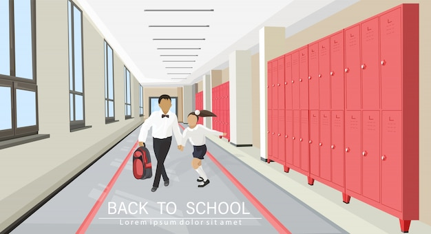 Kids running in the school hall flat style. back to school concept