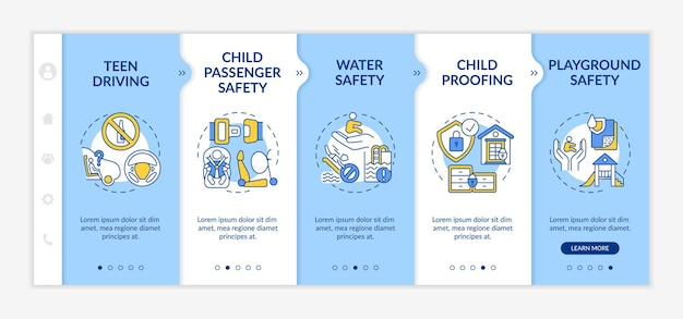 Kids safety onboarding  template. water safety, drowning prevention. child proofing. playground safety. responsive mobile website with icons. webpage walkthrough step screens. rgb color concept