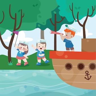 Kids sailor play vector illustration