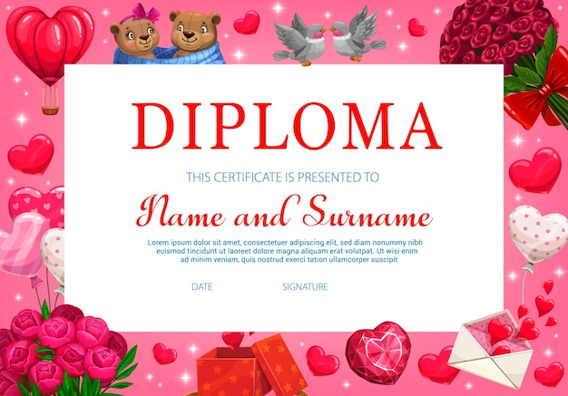 Kids saint valentine holiday diploma or certificate