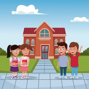 Kids in the school cartoon