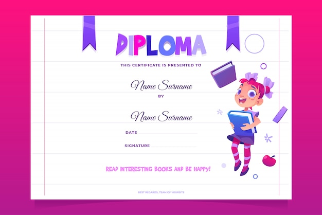 Kids school diploma happy child with book