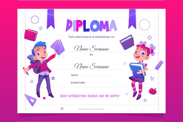 Kids school diploma happy children with books