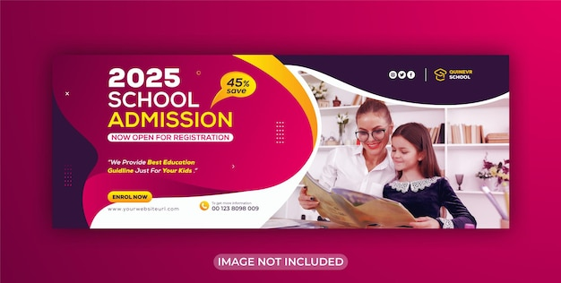 Обложка facebook и шаблон веб-баннера для детей, школьное образование, социальные сети