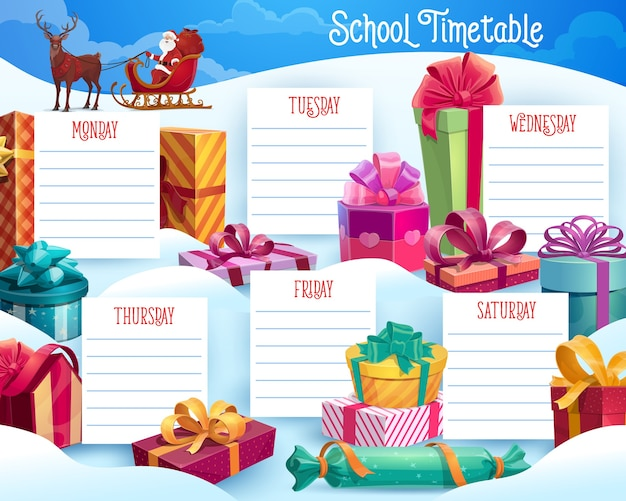 Kids school lessons timetable with christmas gifts and santa in sledge. children week planner, winter holiday celebration schedule with reindeer pulling sledge with santa, wrapped gifts cartoon