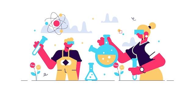 子供の科学のイラスト。実験室の小さな人。化学フラスコと認知好奇心を備えた子供と教師の研究プロセス。科学学校のクラス