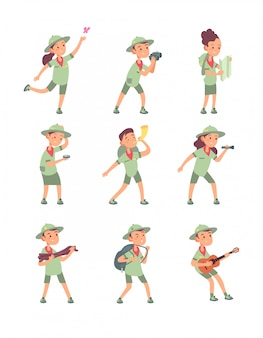 Kids in scout costumes. young scouts boys and girls have adventure in summer camping. cute children  cartoon characters