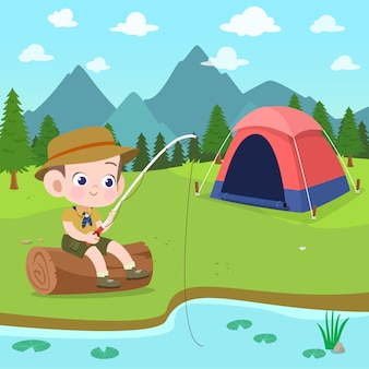Kids scouts at camp illustration