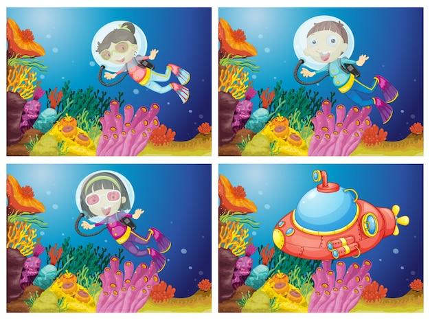 Kids scuba diving under the sea