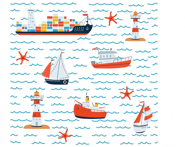 Kids sea seamless pattern with ship, sailboat, lighthouse, boat on white background in cartoon style.