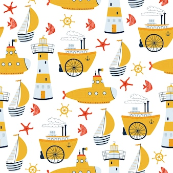 Kids sea seamless pattern with ship, sailboat, lighthouse, submarine, steamship in cartoon style