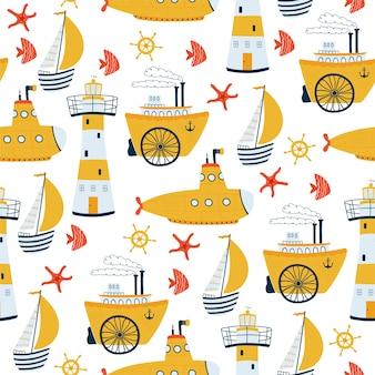 Дети море бесшовные модели с кораблем, парусной лодкой, маяком, подводной лодкой, пароходом в мультяшном стиле