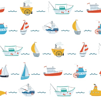 Kids sea seamless pattern with ship, sailboat, submarine, steamship, fishing boat in cartoon style. cute texture for kids room, wallpaper, textiles, wrapping paper, apparel. vector illustration