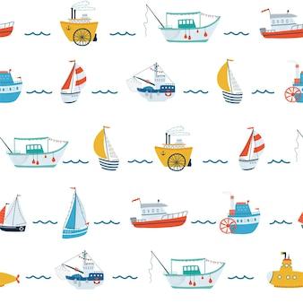 Дети море бесшовные модели с кораблем, парусной лодкой, подводной лодкой, пароходом, рыбацкой лодкой в мультяшном стиле. симпатичные текстуры для детской комнаты, обои, текстиль, упаковочная бумага, одежда. векторная иллюстрация