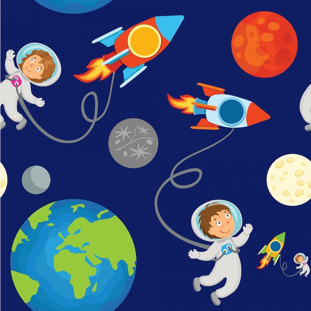 Kids seamless pattern astronaut in outer space.
