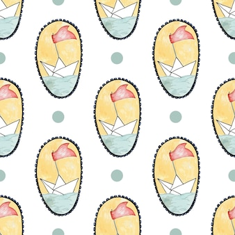 Kids seamless pattern. hand drawn paper ship vector background. watercolor and pencils print.
